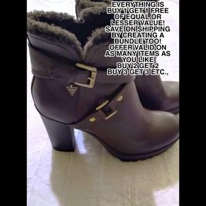 Brown leather Guess ankle boots w/faux fur trim